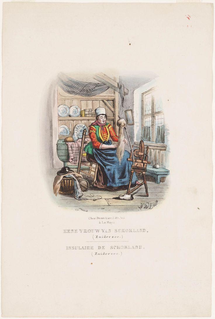 Vrouw van het eiland Schokland / Insulaire de Schokland 1850 kunstenaar: Last, Hendrik Wilhelmus uitgever: Lier, D. van #Schokland