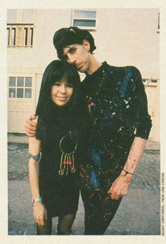 Pia Zadora and Ric Ocasek (as Beatnik chick and Beatnik cat) on the set of John Waters' Hairspray