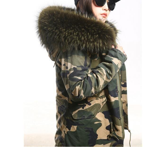 Fashion Warm Womens Big Faux Fur Collar Hooded Camo Jacket Winter Outwear Coats