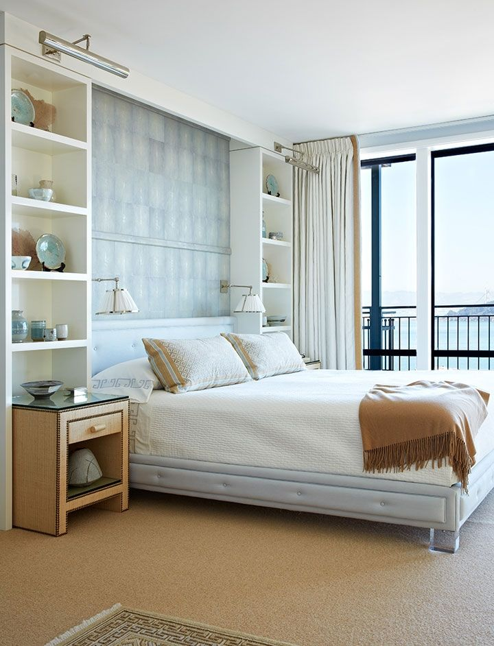 Love the shelving with bedside tables below and lucite for Neutral bedroom wallpaper