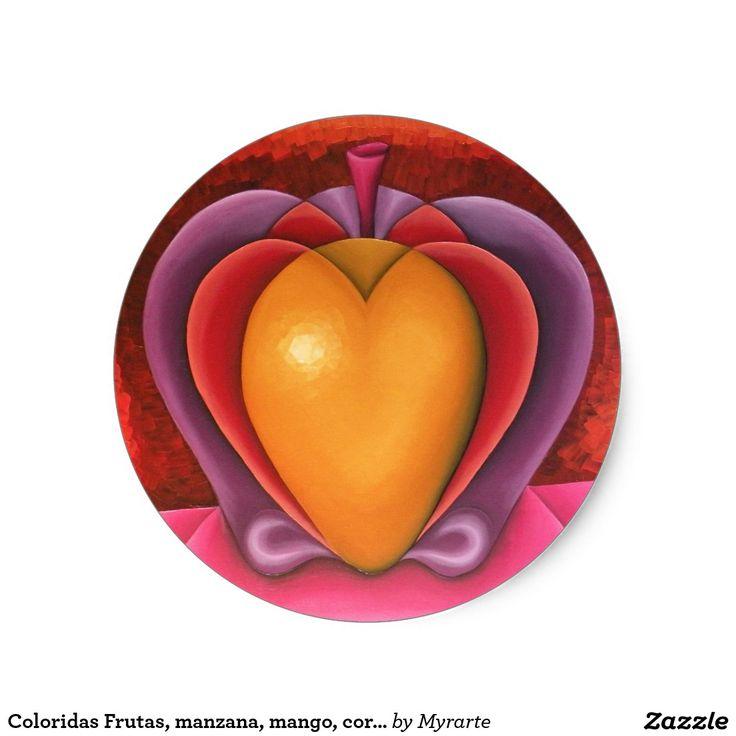 Coloridas Frutas, manzana, mango, corazón. Producto disponible en tienda Zazzle. Product available in Zazzle store. Regalos, Gifts. Link to product: http://www.zazzle.com/coloridas_frutas_manzana_mango_corazon_classic_round_sticker-217867412879008772?CMPN=shareicon&lang=en&social=true&rf=238167879144476949 #sticker