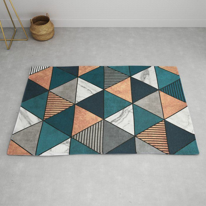 Rug Copper Marble And Concrete Triangles 2 With Blue Textured Carpet Colorful Rugs Colorful Modern Decor