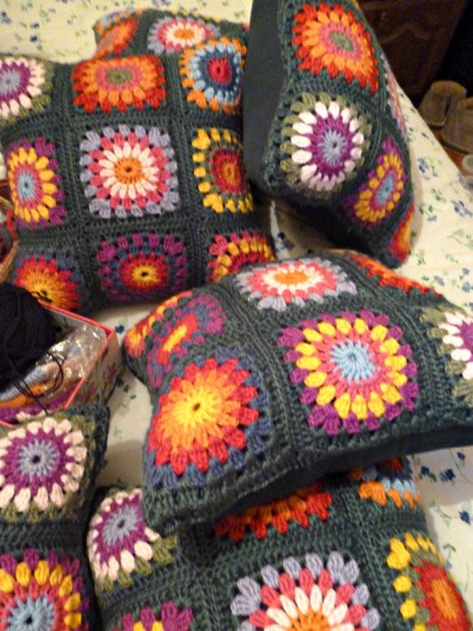 Green chochet cushions