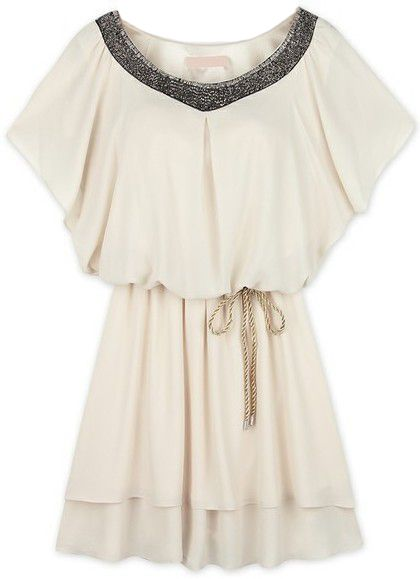 White Batwing Sleeve Sequined Pleated Chiffon Dress