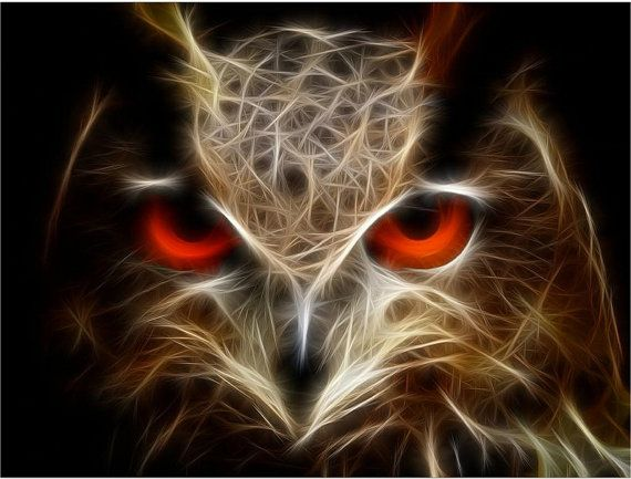 Artwork Acrylic(Plexiglass) 3D HD contemporary art night Own digital painting fractal bird nature modern wall art, red glow eyes