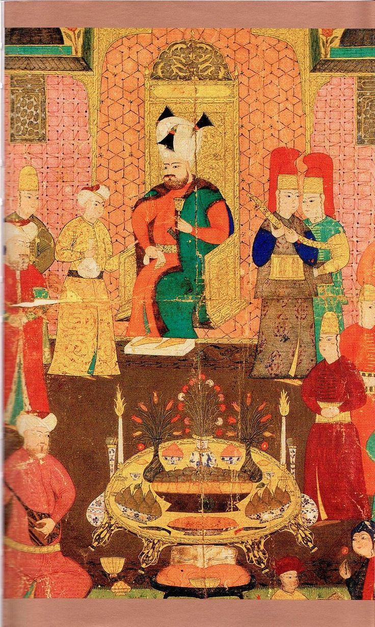 Ottoman miniature painting depicting Murad IV during dinner. Reigned from 1623-1640