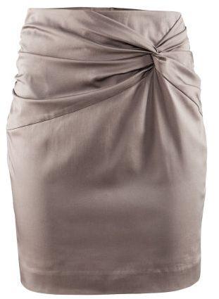 Falda drapeada color gris recta sin pretina