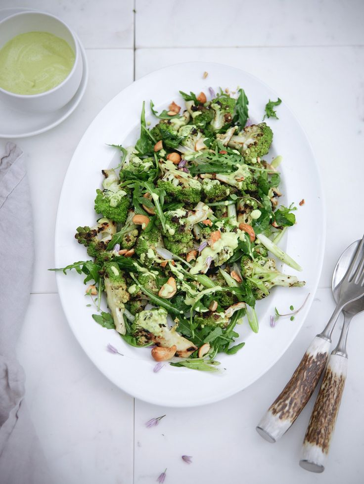 Chargrilled Romanesco Salad with Spiced Cashew Nut Dressing