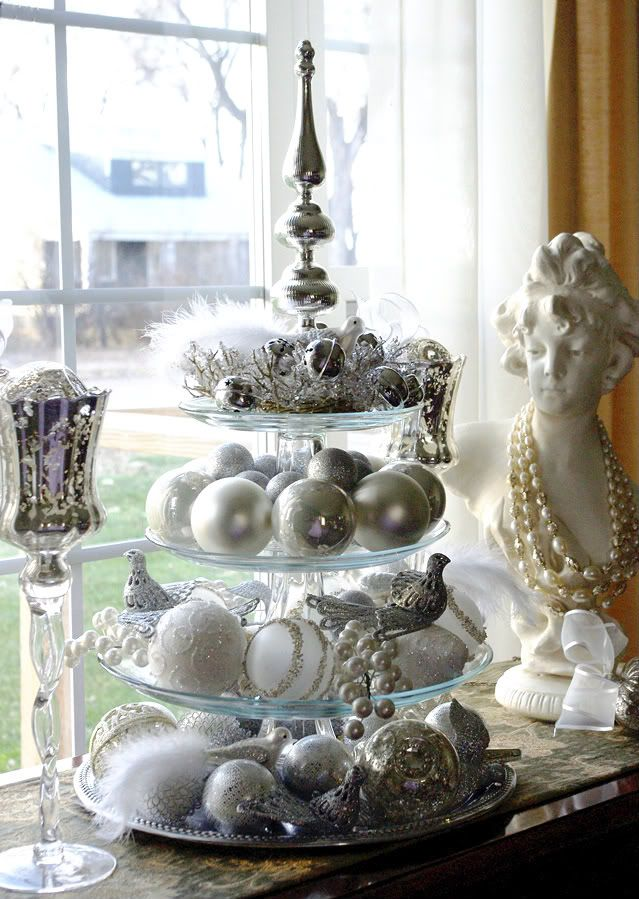 Gorgeous metallic silver holiday decorating inspiration ~ use ornaments on cake stand #holidayentertaining
