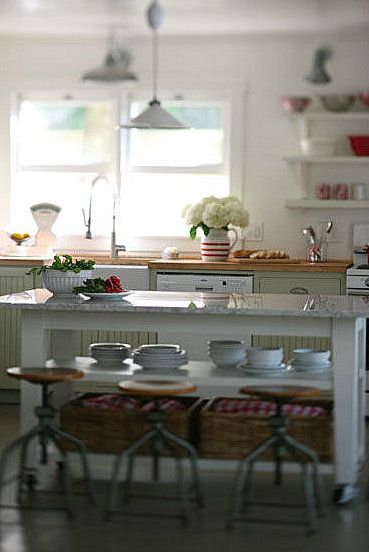I adore the light fixtures, the island and the stools.  Very farmhouse.