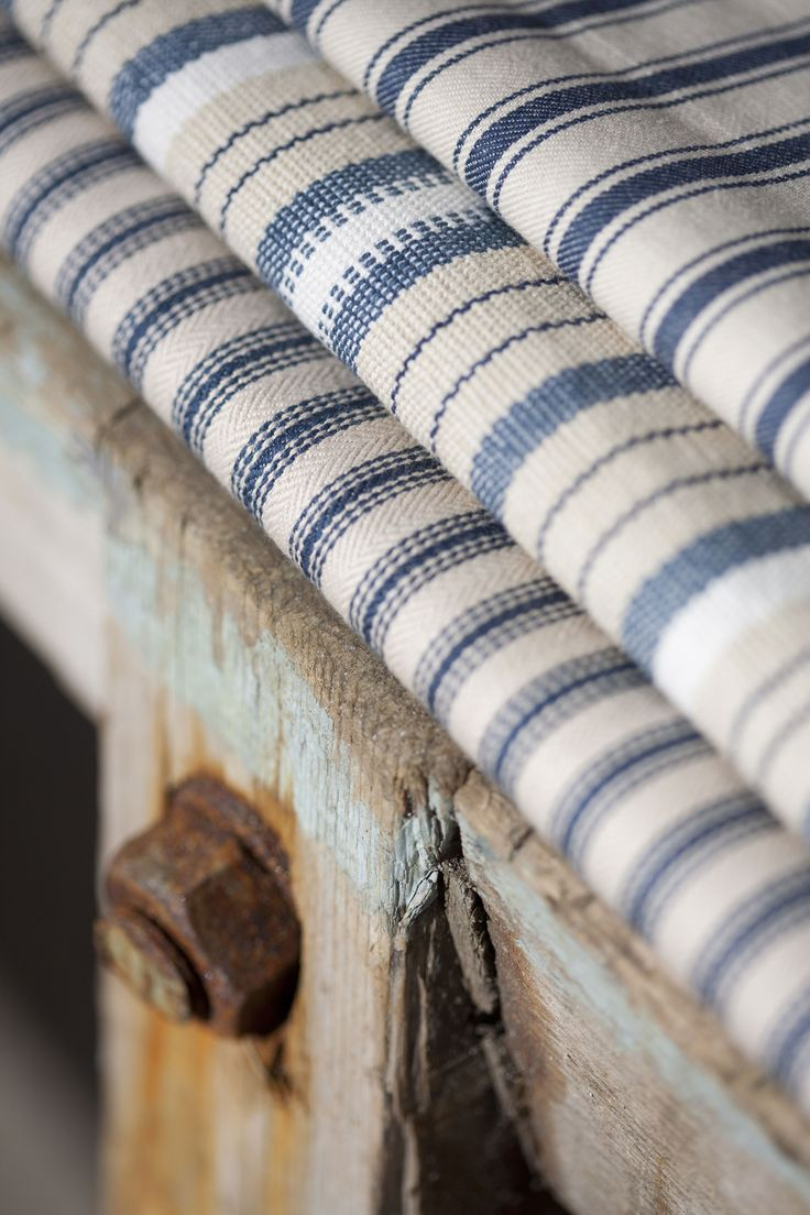 Set Sail with Nautical Stripes from WilliamYeoward. Blue, white and taupe textiles.