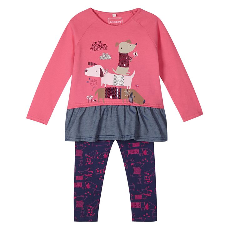 Girl's pink sausage dog printed tunic and leggings set - Kids - Debenhams.com
