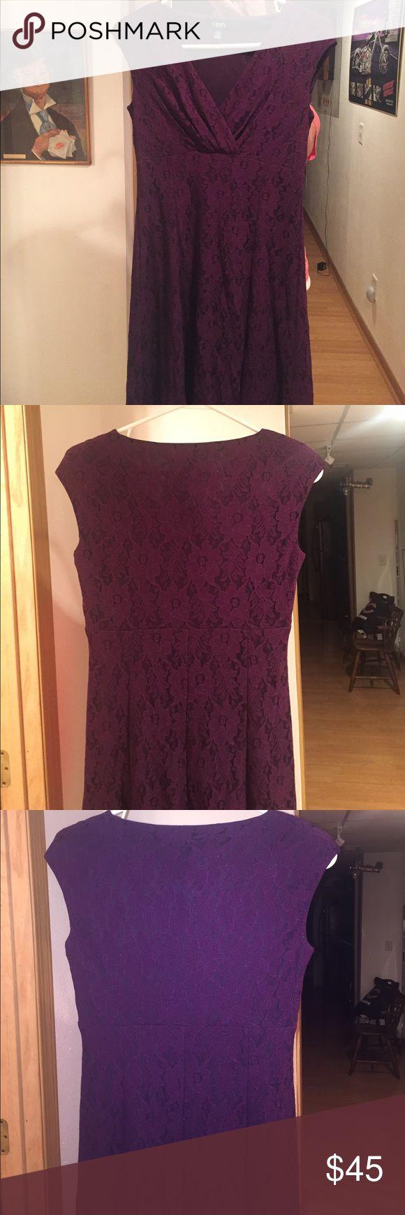Plum lace dress Plum lace dress size 4 by chaps Chaps Dresses