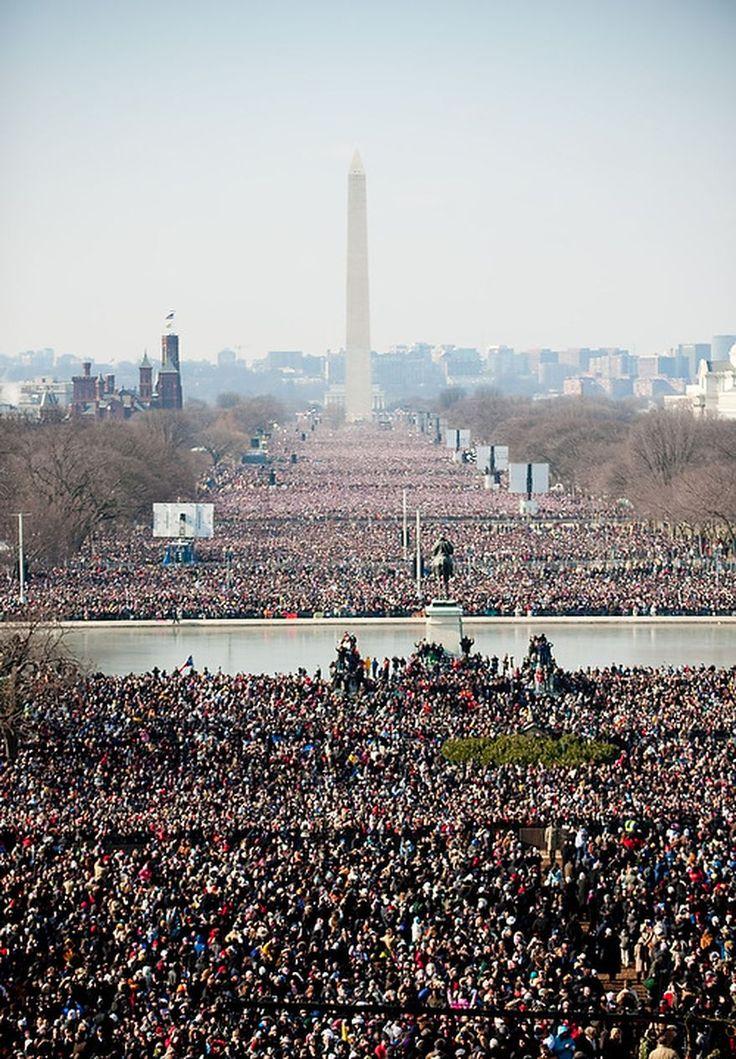Record crowds fill the Mall during the inauguration of Barack Obama as the 44th President of the United States at the Capitol in Washington, D.C. Tuesday, January 20, 2009. (Michael Connor / The Washington Times)