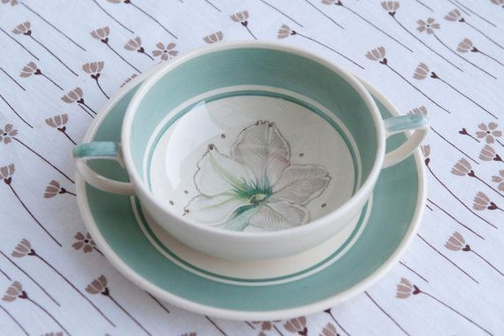 1950s Susie Cooper Soup Coup and Saucer  'Clematis' by HobbyMum, $24.00