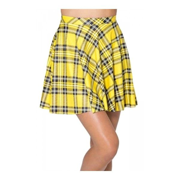 Yellow Vintage Ladies Sexy Plaid Fashion Pleated Skirt ($12) ❤ liked on Polyvore featuring skirts, vintage pleated skirt, pleated skirt, knee length pleated skirt, pleated tartan skirt and yellow tartan skirt