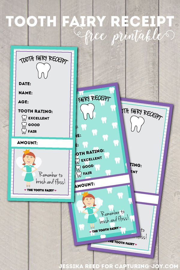 Tooth Fairy Receipt Free Printable!  Such a fun idea for kids!                                                                                                                                                                                 More