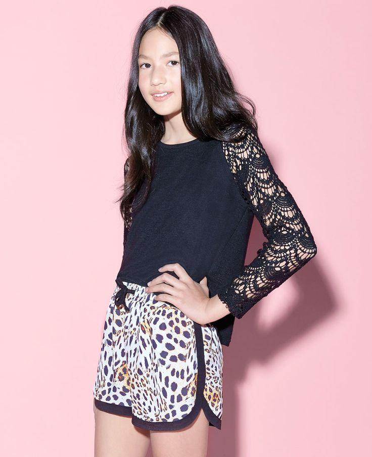 Little Girl's Lace Sleeve Jumper - Bardot Junior