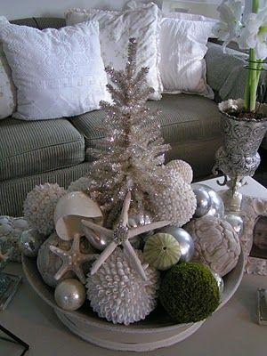 coastal chic Christmas | Coastal Christmas Vintage Chic | Coastal Holiday Decorating & Christm ...