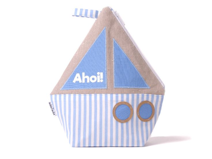 Babypflege - BOOT, Kulturtasche Kinder, Ahoi!, Anker, Segelboot - ein Designerstück von ambaZamba bei DaWanda