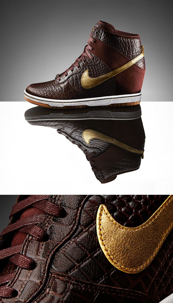 Jetset chic with crocodile details. The Nike Dunk Sky Hi Milan. #style #dunks #nike