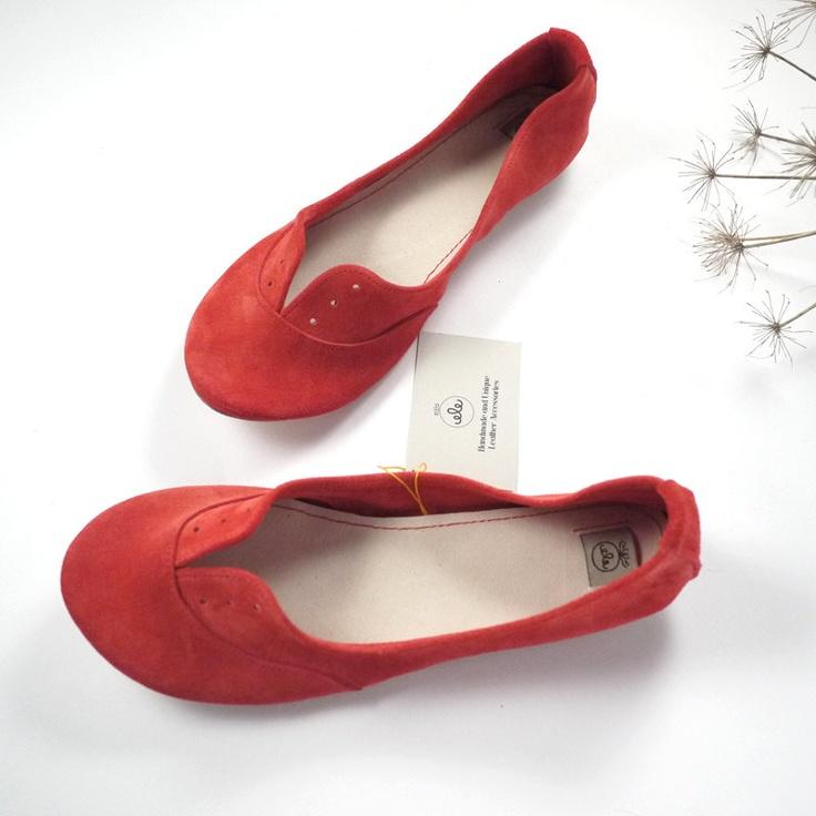 Geranium Red Soft Suede Handmade Oxfords Shoes.