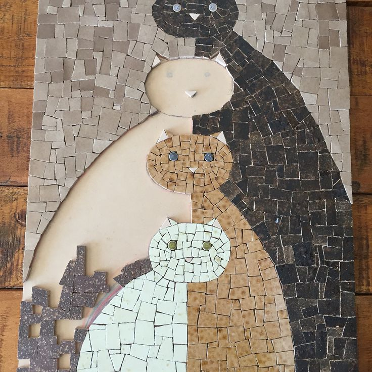 Mosaic cats in progress  by Fernanda Elortegui