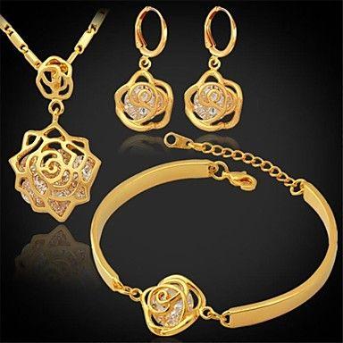 u7® vintage infinity steeg kubieke zirkoon oorbellen hanger armband set 18k echt goud vergulde sieraden set - EUR € 23.91