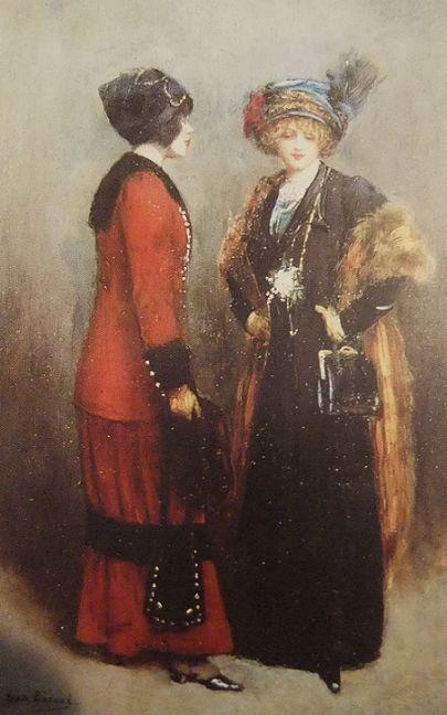 1911......LES MIDINETTES..........PARTAGE DE LE PEINTRE JEAN BERAUD...........SUR FACEBOOK................La midinette désignait au 19ème siècle une jeune ouvrière ou une vendeuse travaillant dans la couture parisienne. L'origine de ce nom viendrait du fait qu'elle se contentait à midi d'une dinette, c'est-à-dire d'un repas sommaire. Elle devient d'abord synonyme de jeune coquette, puis au 20ème siècle le sens de ce nom change et il désigne plutôt une jeune femme naïve et sentimentale,