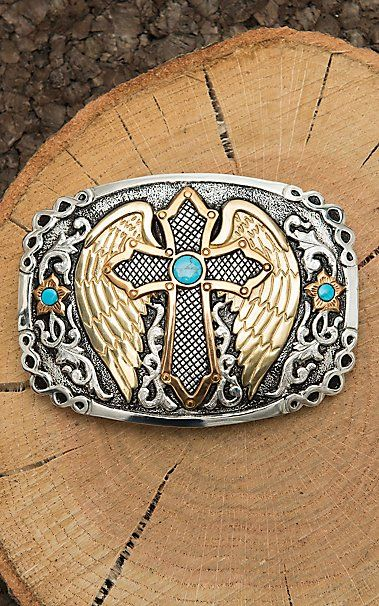 Crumrine Silver Scroll with Copper and Gold Cross with Wings and Turquoise Details Fashion Belt Buckle | Cavender's