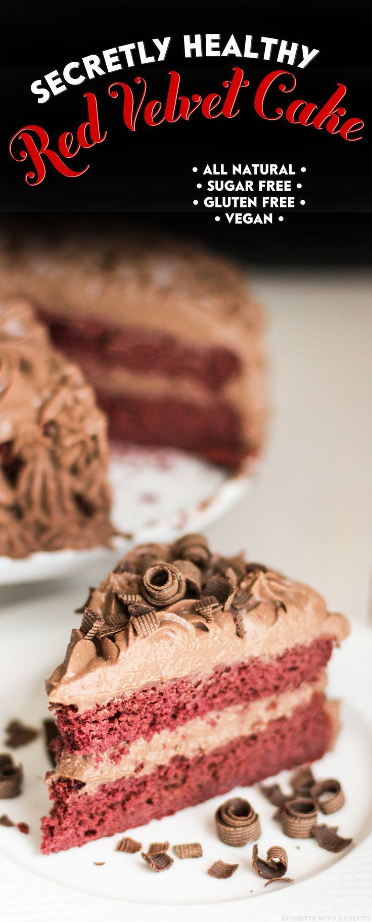 Healthy Vegan Red Velvet Cake with Chocolate Mousse Frosting!  This cake recipe is naturally red, low sugar, high protein, high fiber, whole grain, gluten free, and dairy free.  It tastes like magic.