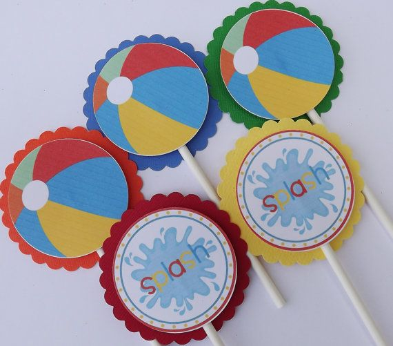 Beach Ball Pool Party Cupcake Picks Toppers by beadedink on Etsy, $9.00