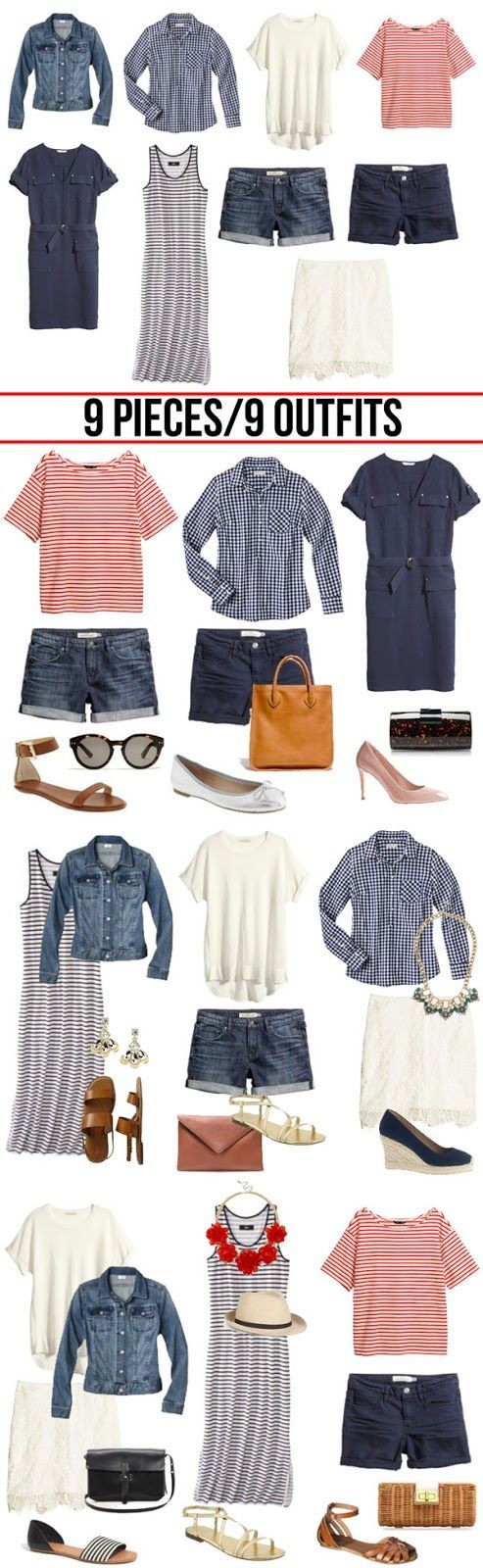 9 summer outfits from 9 pieces for curvy hourglass women over 40,50.   How to make this work: Shorts-substitute med-dark wash jeans that are comfy and flatter, not too matchy with jacket; cropped pants (below knee-calf) in navy cotton/lycra or dark denim. White lace pencil skirt-not for me! Try white flowy maxi or A-line in fabric that suits your lifestyle.  Accessories: shop your closet! Strappy sandals and flats with no arch support-ouch! Buy comfort. Substitute wedge in leather or fabric.
