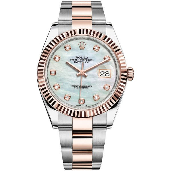 Rolex Datejust 41mm Steel and Everose Gold 126331 MOP Diamond Oyster... ($15,130) ❤ liked on Polyvore featuring men's fashion, men's jewelry, men's watches, stainless steel, mens gold watches, rolex mens watches, mens stainless steel watches, mens diamond watches and mens gold diamond watches