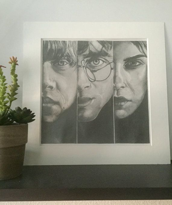 12x12 Harry Potter and the Deathly Hallows, Pencil Drawing. Check it out at www.etsy.com/shop/ReamsandSeams