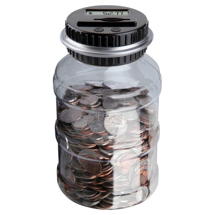 Sharper Image - Coin Jar, Grey