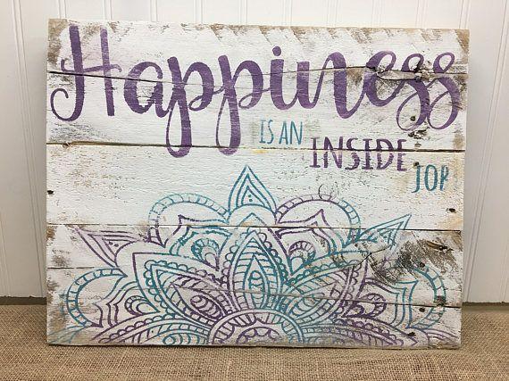 Rustic Pallet Wall Art Mandala Happiness Sign Wood Wall
