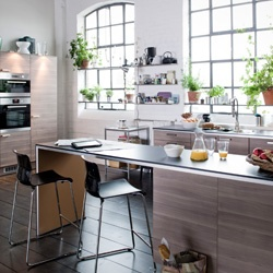 Ikea Walnut Effect Light Grey Kitchen