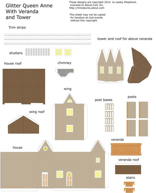 Photo of a pdf parts sheet for a printable miniature Queen Anne style house for a glitter village. - Photo © 2014 Lesley Shepherd
