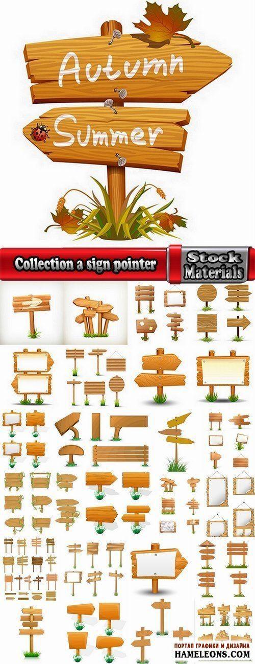 Деревянные вывески, указатели, таблички - векторная коллекция | Collection a sign pointer