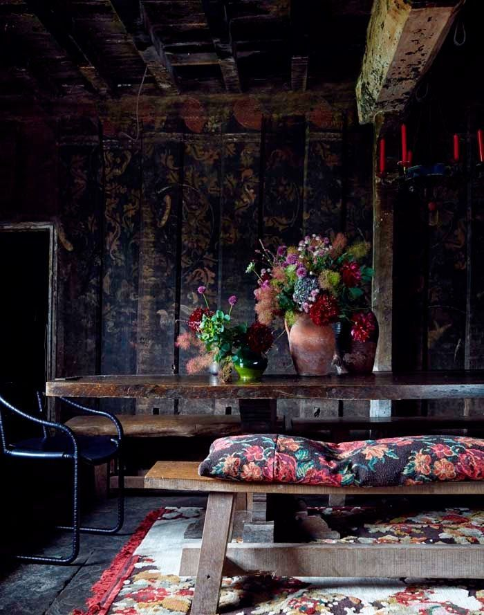 Dark Panelled Dining Room with Tapestry Style