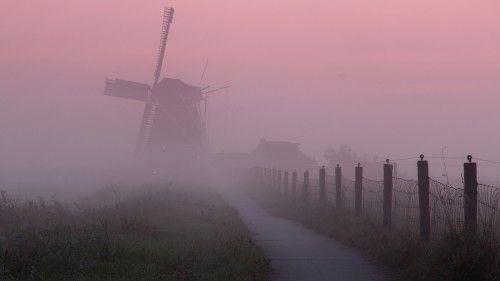 De Koningslaagte -hier in de ochtendmist- is een poldermolen uit 1878 in het gelijknamige gebied ten westen van het dorp Zuidwolde, ten zuidoosten van Adorp en ten noorden van de stad Groningen. De molen, een achtkante grondzeiler, is eigendom van de Molenstichting Hunsingo en Omstreken.<br>Het gebied 'De Koningslaagte' ligt deels in de gemeente Bedum en deels in de gemeente Groningen. De molen staat op grondgebied van de gemeente Bedum. Langs de molen loopt een fietspad.