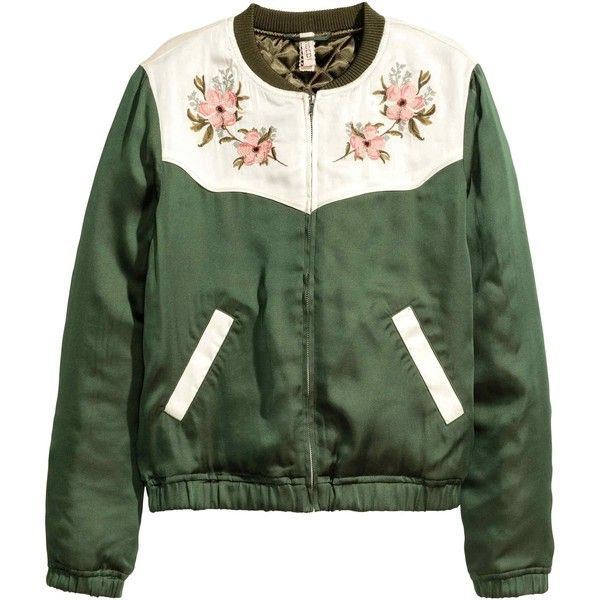 Embroidered bomber jacket (595 MXN) ❤ liked on Polyvore featuring outerwear, jackets, coats & jackets, tops, embroidered bomber jacket, zip jacket, green zip jacket, blouson jacket and satin jackets