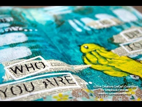 """journal d'artiste """"who you are"""" art journaling with #DynaWakley 's new stamps and stencil"""