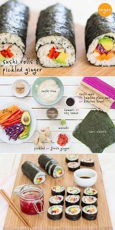 Vegan Sushi // nori sheets, sushi rice, red pepper, avocado, carrot, red cabbage, rice vinegar, sugar, wasabi, soy sauce, pickled ginger