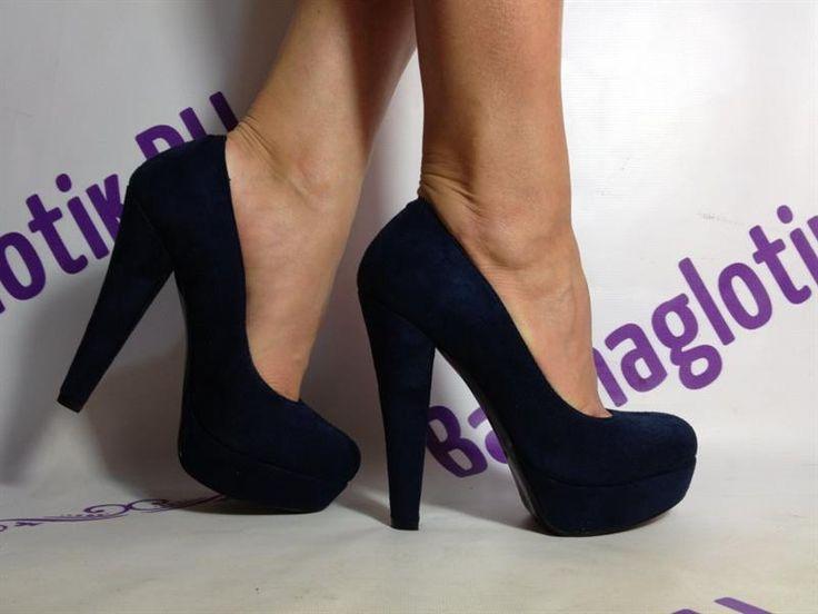 Туфли на высоком толстом каблуке и платформе