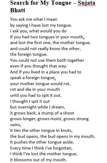 """search for my tongue coursework Sujata bhatt: from search for my tongue """"tongue"""": both organ used for speech course, he is doing just this writer takes on persona of """"ordinary."""