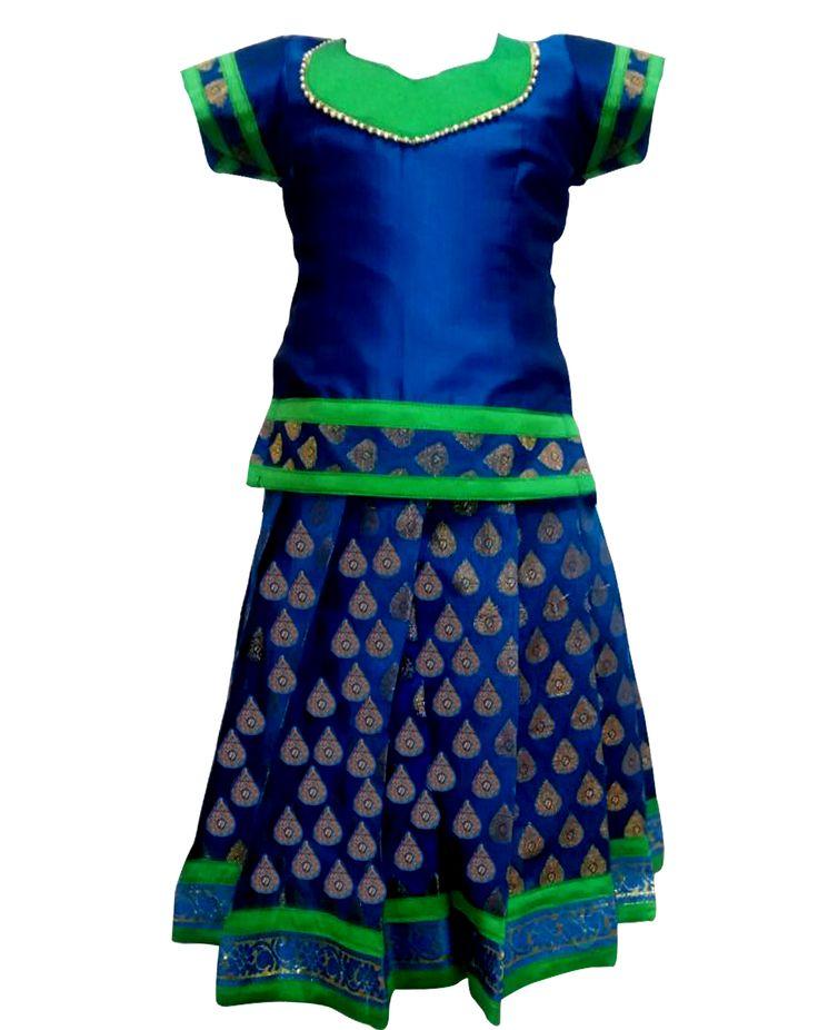 #kidspattu pavadai#kidsreadymade pattu pavadai #green with blue pattu pavadai new pattu pavadai collection in india only at www.bujuma.com