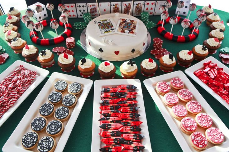 Poker theme party, casino inspired sweets-looks like a roulette table the way it's laid out