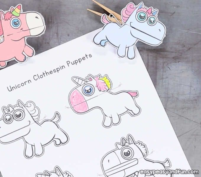 Unicorn Clothespin Puppets Puppets Unicorn Party Food Dinosaur Template